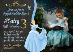 Cinderella birthday invitation invite Disney's Cinderella  Disney Princess party Princesses Girl Chalkboard Card Printable prince charming on Etsy, $9.99