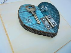 Barn Wood Heart Assemblage, 2 Toned Blue, Vintage, Key, Hinge, Folk Art, Steampunk, Industrial, Home Decor. Primitive, Rustic, Love, Recycle by Imperfetions on Etsy