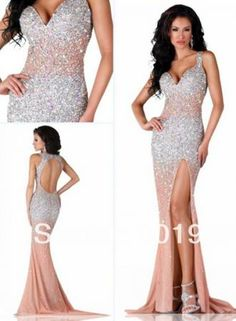 USD$323.37 - New Fashion Sexy Long Evening Dresses 2015 Luxury Elegant Open Back Slit Beaded Prom Dresses With Crystals - www.27Dress.com