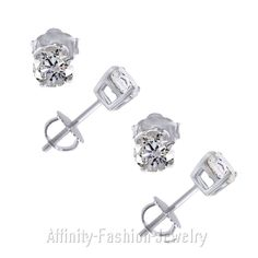 2.00 CT ROUND CUT SCREWBACK BASKET STUD EARRINGS SOLID 14K WHITE GOLD #AffinityFashionJewelry #Stud #Christmas
