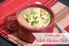 This 15 Minute White Chicken Chili won 1st place in a chili cook-off. It is absolutely the best White Chicken Chili around!  #15MinuteSuppers