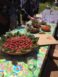 Food is the reason, for teaching children how to grow plants, and garden. 2014 Edible Schoolyard Academy Berkeley, outdoor food table lesson, don't forget the flowers!