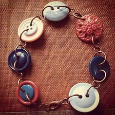 Rose and Peacock - Vintage Button Bracelet by thelibraryfaerie, $12.99