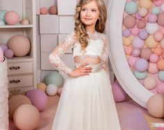 Ivory and Blush Pink  Flower Girl Dress  Birthday Wedding
