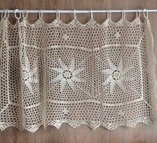Hand Crochet Lace Kitchen Cafe Window Curtain Tier Decoration | Etsy French Country Farmhouse, Rustic Farmhouse, Cafe Curtains, Window Curtains, Rustic Table, Vintage Table, Hand Crochet, Crochet Lace, Cafe Window