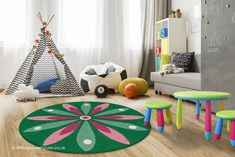 Kurzflorteppich N Joy KayoomKayoom Circle Rug, Flower Circle, Star Flower, Lohals, Childrens Rugs, Tapis Design, Nursery Rugs, Color Of Life, Boy Or Girl