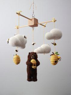 Needle Felted Bear Honeybee and Beehive Nursery by MerleyBird