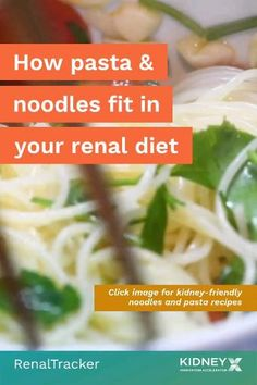 Can noodles and pasta fit into the diet of a person with chronic kidney disease? Click the image to know the answer. Healthy Kidney Diet, Healthy Kidneys, Kidney Health, Pasta Recipes, Diet Recipes, Renal Diet, Food Swap, Chronic Kidney Disease, Pasta Noodles