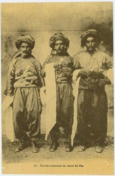 Kurdish Men in traditional Costumes from Aleppo, Syria, 1920-1925 by Wattar Fréres,