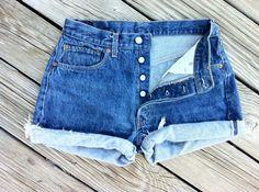 Vintage LEVI Button Fly Jean Shorts  HIGH Waist  by TomieHarlene, $20.50