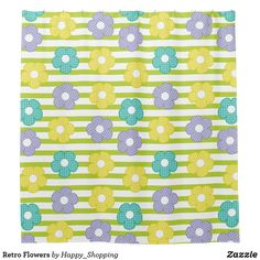 Retro Flowers Shower Curtain Retro Flowers, Colorful Flowers, Flower Patterns, Flower Designs, Flower Shower Curtain, Different Flowers, Party Hats, Funny Cute, Happy Shopping