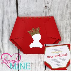 Items Similar To Deluxe Little Prince Diaper Invitations In Red U0026 Glitter  Gold With Matching Diaper Raffle Insert  Set Of 10 On Etsy