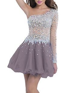 Sweet Bridal Womens One Sleeve Long Sleeve Beaded Short Prom Dress Grey US4 * You can find out more details at the link of the image. (This is an affiliate link)