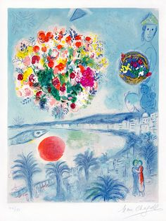 View details of Marc Chagall Sunset from the Nice and The Côte d'Azur Series, 1967, an original, hand-signed Chagall lithograph. See purchasing info.