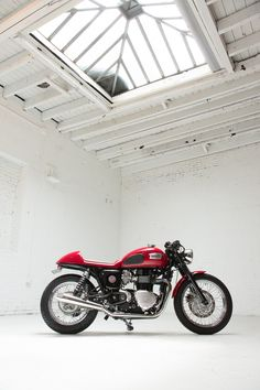 Great shot, great bike—a custom Triumph Bonneville by Dime City Cycles.