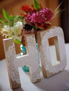 enfeites de mesa noivado e casamento letras