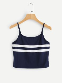 Shop Stripe Panel Crop Cami Top at ROMWE, discover more fashion styles online. Cropped Cami, Cami Crop Top, Cami Tops, Crop Tank, Camisole Top, Cute Summer Outfits, Trendy Outfits, Cute Outfits, Womens Fashion Casual Summer