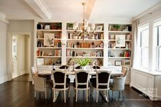 21 Wonderful Black and White Traditional Dining Room Design Ideas : Black And White Dining Rooms With Bookcase Dining Room Design, Dining Area, Kitchen Dining, Dining Rooms, Black And White Dining Room, White Rooms, White Walls, Sweet Home, Home Decoracion