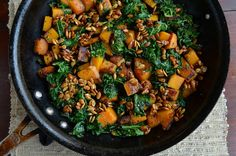 Skillet Butternut Squash and Kale with Maple-Roasted Pumpkin Seeds - Yum for Fall!