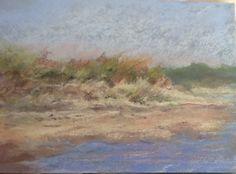Plein air. Pastel 5x7 on sanded board . Forest Beach ,Chatham Mass.   by Sandi Graham $100 unframed