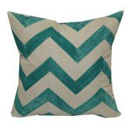 "Mainstays 16"" Teal Chevron Outdoor Pillow (Could use this in the living room/for a footrest under the desk)"