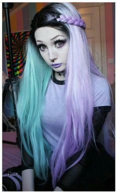 58 new ideas for hair color dark pastel goth Gothic Hairstyles, Trendy Hairstyles, Wig Hairstyles, Wedding Hairstyles, Updo Hairstyle, Pastel Goth Hair, Pastel Goth Fashion, Teal Hair, Pelo Multicolor