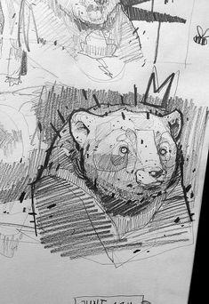 Blackbook pieces… by Monsta , Lyon, France Inspiration Art, Sketchbook Inspiration, Art Inspo, Animal Drawings, Cute Drawings, Drawing Sketches, France Drawing, Bear Sketch, Art Du Croquis