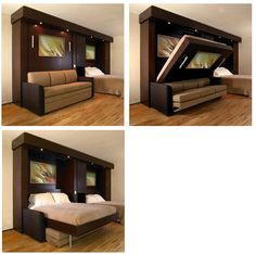 A Murphy bed that folds down over a sofa