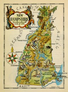 Vintage pictorial map of New Hampshire by Jacques Lizou in 1946.