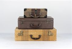 Vintage Suitcase, Stack Of Suitcases, Suitcase Stack Of Three, Striped Suitcase, Old Suitcases, Luggage Stack, Old Suitcase, Luggage by HuntandFound on Etsy