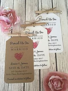 Vintage/Rustic Pencil Us In Save the Date Tags with magnets