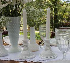Milk glass candle sticks ~I have the beautiful vase~ Wedding Centerpieces, Centerpiece Ideas, Table Decorations, Antique Dishes, Glass Candlesticks, Glass Collection, Milk Glass, Candle Holders, Candle Sticks