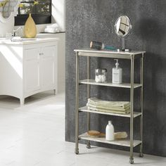 @Overstock.com - 'The Orleans' 4-tier Shelf - The Orleans Four Tier Shelf is constructed of powder-coated metal with marble laminate shelves. This multifaceted storage shelf will meet all your storage needs, and will complement any bathroom.  http://www.overstock.com/Home-Garden/The-Orleans-4-tier-Shelf/7573883/product.html?CID=214117 $132.19