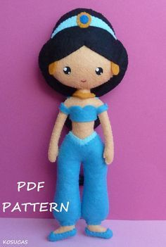 PDF sewing pattern to make felt doll inspired in Jasmine.