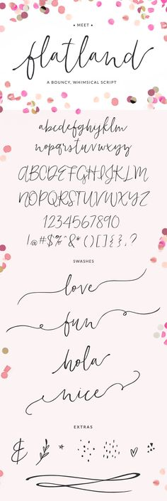 Flatland font | A bouncy, whimsical script font with a modern calligraphy vibe | Pretty, romantic and feminine fonts for logos, graphics, signatures, weddings, invitations, stationery and more.