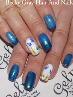 In memory of my cat bluebell ❤️😺#gel_two #manicure Hawaiian hurricane #magpieglitter bluebell #nailart #gelii #showscratch #scratchmagazine