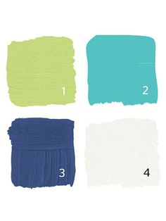 THE GENIUS GUIDE TO FINDING YOUR PERFECT PAINT PALETTE: Use this easy guide to find the perfect palette for your home! Here, you'll find fun decor and decorating ideas! Pro tip: Look at your clothes, your favorite flowers, even packaging that beckons to you at the grocery store: You'll probably see certain colors pop up again and again. Those are the ones you'll love living with, in doses big or small. Click through for happy palettes including this lime green and blues one!