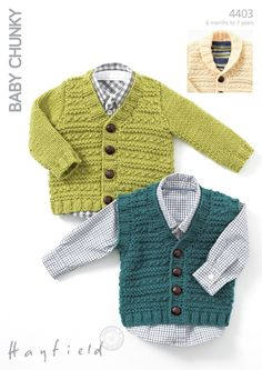 Waistcoat, V Neck Cardigan And Cardigan with Shawl Collar in Hayfield Baby Chunky - 4403 - Downloadable PDF. Discover more patterns by Hayfield at LoveKnitting. The world's largest range of knitting supplies - we stock patterns, yarn, needles and books fr