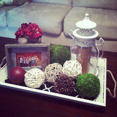 Coffee table decor, barnwood style
