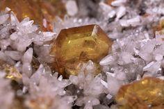 Transparent yellow tabular crystals of sturmanite with minor quartz crystals on a matrix - from N'Chwaning II Mine  Kuruman, Kalahari Manganese Fields, Northern Cape Province, South Africa