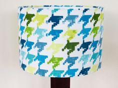 Teal blue and lime 30cm drum table lampshade  using @prestigioustext Nevada fabric by JoJonesCreative