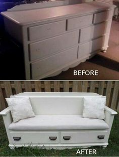 Turn an old dresser into a couch for your entryway or patio.