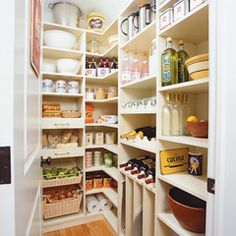 This pantry isn't huge on space but it's huge on capacity with well thought out placement of shelves. drawers, nooks and crannies. Storage Solutions We Love at Design Connection, Inc. | Kansas City Interior Design http://designconnectioninc.com/blog/ #PantryIdeas #InteriorDesignInspiration #StorageSolutions