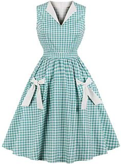 online shopping for Womens Vintage Swing Dress Sleeveless Plaid Ruffles Rockabilly Dress from top store. See new offer for Womens Vintage Swing Dress Sleeveless Plaid Ruffles Rockabilly Dress Vintage Outfits, Robes Vintage, Vintage Midi Dresses, 1940s Dresses, Retro Dress, Vintage Fashion, Vintage Clothing, Women's Clothing, 1950s Fashion