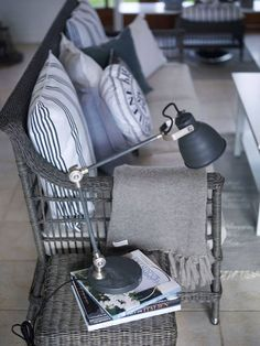 Grey painted wicker