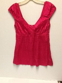 Nanette Lepore Top Hot Pink Size 0 Cap Sleeve Stretch Fitted Crossover Silk  #NanetteLepore #Blouse #Casual