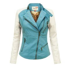 45cb6b42eeee ENVY BOUTIQUE LADIES PU PVC FAUX LEATHER CONTRAST SLEEVE BIKER JACKET  TURQUOISE 16  Amazon.co.uk  Clothing