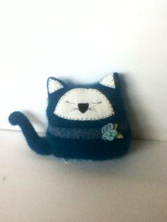 Super fuzzy teal angora cat pillow on Etsy, $18.00