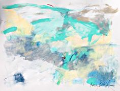 Light and Airy Kerri Blackman abstract expressionist, work on paper, blue, gray, modern home art, intuitive