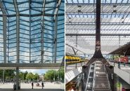 rotterdam centraal station redeveloped by team CS Urban Landscape, Landscape Photos, South Holland, Line Photo, Space Projects, Roof Structure, Granite Stone, Roof Plan, Stone Flooring
